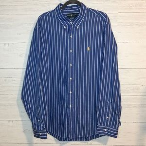 Ralph Lauren Blue & White stripe button down shirt
